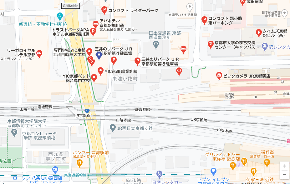 YIC京都の貸し会議室最寄りの駐車場