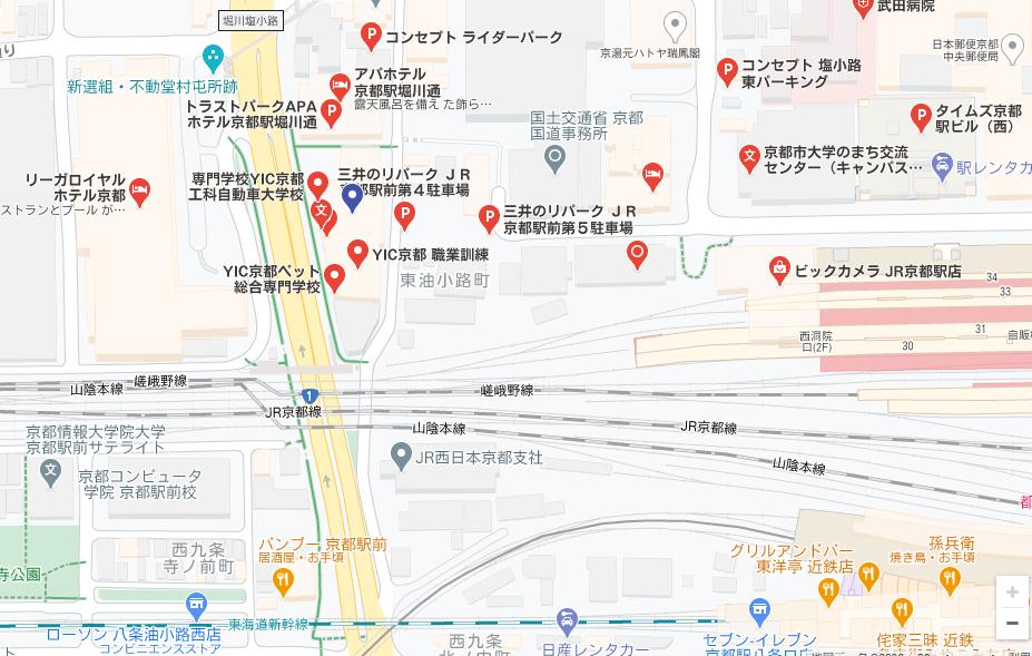 YIC京都の貸し会議室 駐車場のご案内